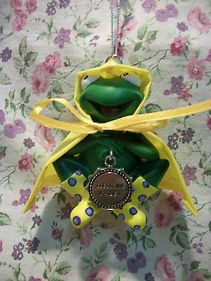 NEW GANZ FROG IN RAINCOAT ORNAMENT BLESS MY GARDEN