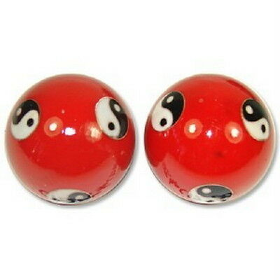 Chinese Cloisonne Health Exercise Stress Baoding Balls Ying Yang Red Color