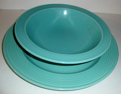 "Vintage Riva Designs Color Your Table Serving Bowl & 12"" Plate Seafoam Green"