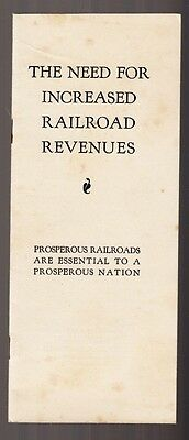 """[36582R] 1937 Pamphlet """"the Need For Increased Railroad Revenues"""""""
