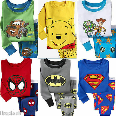 Kids Cartoon Characte Sleepwear Cotton Top Bottoms Pyjama Set 18m 5-7 years