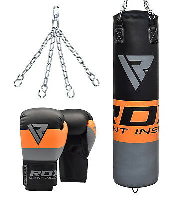 RDX 4FT 5FT Filled Heavy Punch Bag Set With Boxing Gloves & Chains Training MMA