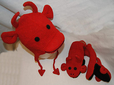 NWT deLux RED DEVIL evil SOCK MONKEY HAT & MITTENS SET knit ADULT costume LINED