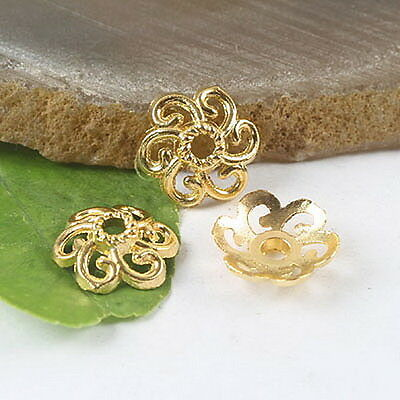 50pcs gold tone flower spacer beads H0166