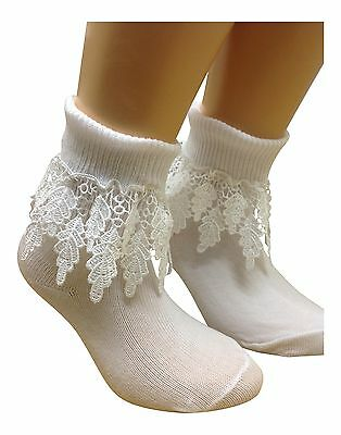 2 Pair BABY GIRLS turn over top ankle socks WHITE  DROP DOWN LEAF LACE TRIMS