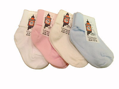 6 Pairs of BABY SOCKS Soft Cotton TURN OVER TOP DESIGN BOYS & GIRLS COLOURS