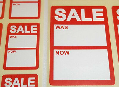 Bright Red REDUCED SALE Was / Now Price Point Stickers, Swing Tag Sticky Labels