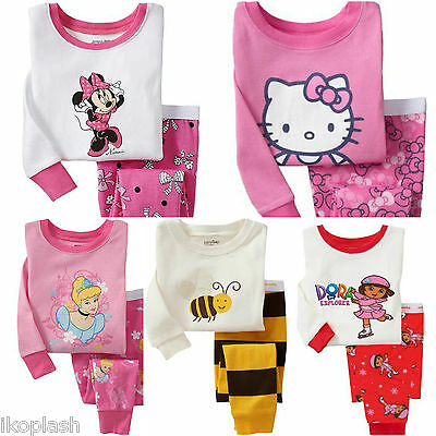 Girls Hello Kitty Minnie Dora Sleepwear Cotton Top Bottoms Pyjama Set 18m 5 7 y