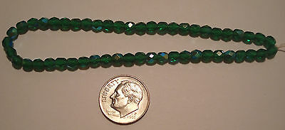4mm Emerald crystal transparent AB fire polished beads 8 inch st 50 beads GBS038