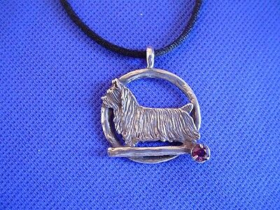 Original Sterling Silver Silkie Terrier garnet necklace by Cindy A. Conter
