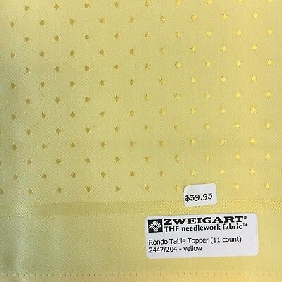 Zweigart's Rondo Table Topper Yellow 11 count Cross Stitch Free Pattern NEW