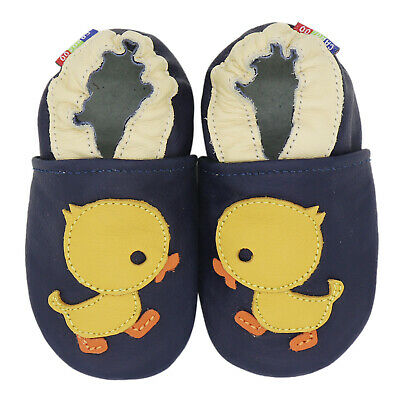 carozoo duck dark blue 18-24m soft sole leather baby shoes