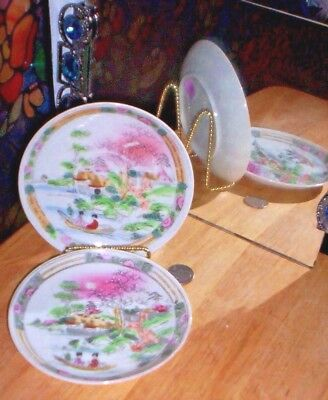 Antique Pair Moriage  Hand Painted Cup Saucers ~ Made In Japan