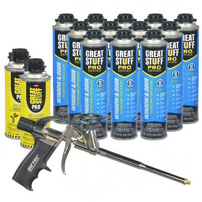 Great Stuff PRO Window Door Low Expansion foam (12) cans + Foam Gun + 2 cleaner