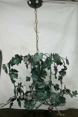 1950's Antique Lighting Ceiling Light Chandelier Green Hanging 1807-13