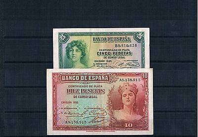 Extremely Rare Gorgeous Banknote Spain Lot 2 Pcs 5 Y10 Pesetas
