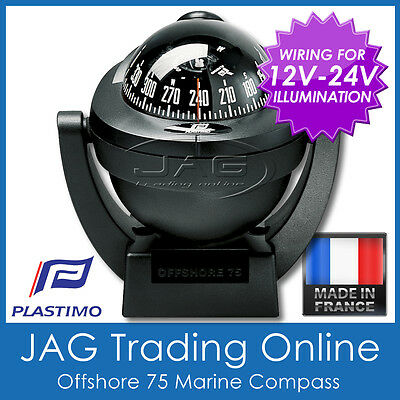 PLASTIMO OFFSHORE 75 BLACK MARINE/BOAT COMPASS 12V-24V Lighting / Bracket Mount