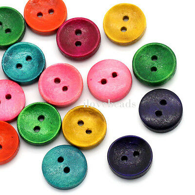 """100PCs Craft Wood Sewing Buttons 2 Holes Round Scrapbook Mixed 15mm(5/8"""")Dia."""