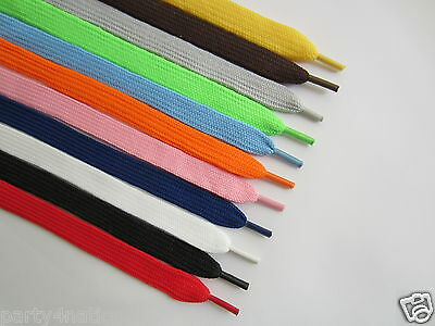 Flat Coloured Shoe Boot Trainer Skate Laces Choice of Colours New Shoelaces