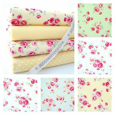 Rosalind Rose - 100% Cotton Fabric Small Floral Roses Shabby Vintage Chic