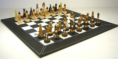 "Egyptian Egypt Chess Set W 18""  BLACK FAUX LEATHER BOARD"
