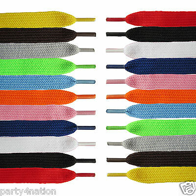 2 Pairs Flat Coloured Shoe Boot Trainer Skate Laces 11 Colours New Shoelaces