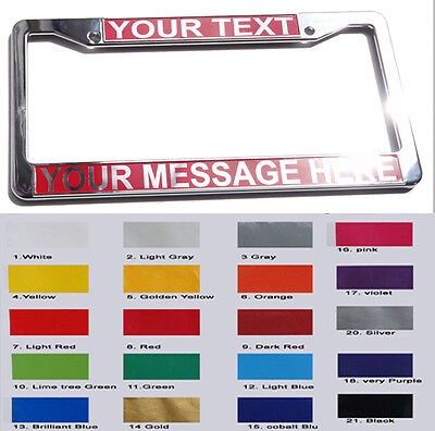 CUSTOM PERSONALIZED LICENSE PLATE FRAME chrome color plastic cover - B type 1