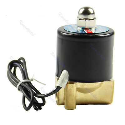 """Brass 12V DC 1/4"""" Electric Solenoid Valve Water Air Fuels Gas 2Way Normal Closed"""