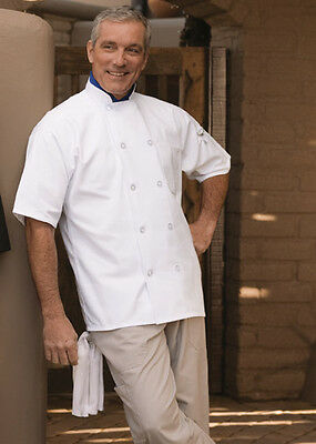 South beach short sleeve chef coat, White or Black, sizes XS to 2XL, 415