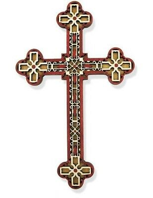 """Religious Gift Authentic Russian 7 1/2"""" Laser Cut Wood Budded Cross Chapel Decor"""