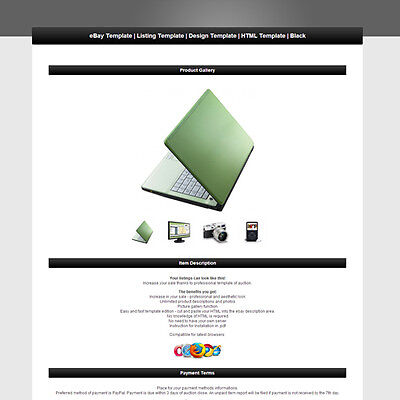 eBay Template | Listing Template | Design Template | HTML Template | Black