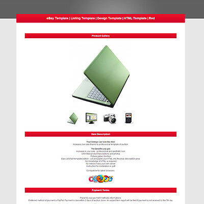 eBay Template | Listing Template | Design Template | HTML Template | Red