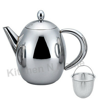 Teapot with Tea Infuser, 500ml/17.5 oz, Quality Stainless Steel,