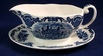 Enoch Wedgwood ROYAL HOMES of BRITAIN BLUE Gravy Boat w/Attached Underplate A+