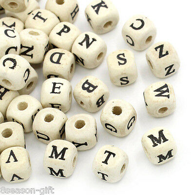 "HX 200PC Natural Mixed A-Z Alphabet/ Letter Cube Wood Beads 10x10mm(3/8""x3/8"")"