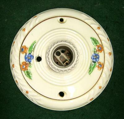 Shabby Antique Ceiling Light Fixture Floral Chic Old NY #1829-13