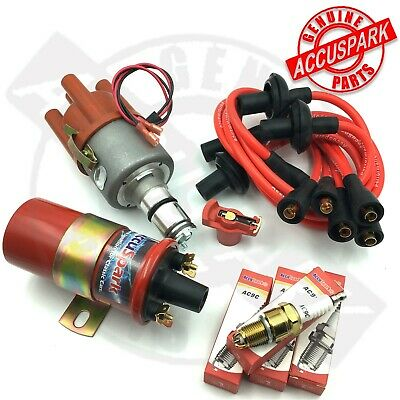 VW Beetle  Electronic 009 Distributor Sports Coil, plugs,Red  leads,Red Rotor
