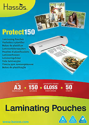 50 x Hassos A3 Laminating Pouches 150 Micron ( 2 x 75 ) Gloss Laminate Sleeves