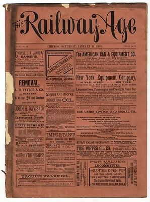 "[36949R] January 11, 1890 Issue Of ""the Railway Age"" Newspaper"