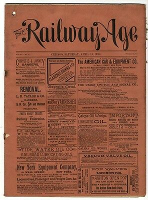 "[36963R] April 19, 1890 Issue Of ""the Railway Age"" Newspaper"