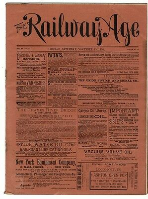 "[36954R] November 15, 1890 Issue Of ""the Railway Age"" Newspaper"