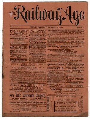 "[36959R] December 6, 1890 Issue Of ""the Railway Age"" Newspaper"