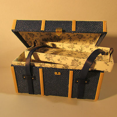 Doll house miniature artisan made fabric linedblue  travel trunk ~ 1/12 scale