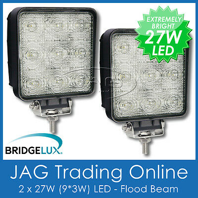 2 x 27W LED 12V~24V SQUARE FLOOD/WORK LAMPS-DRIVING/BOAT/4X4/TRUCK/RV/DECK LIGHT