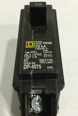 HOM120 Square D Type HOM Circuit Breaker 1 Pole 20 Amp 240V (2 YEAR WARRANTY)