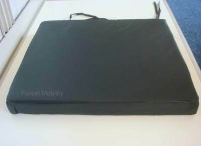 "18x16x2"" Black Vinyl Memory Foam Water Resistant Wipe Clean Wheelchair Cushion"