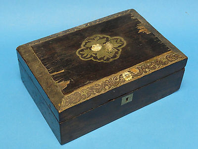 ENCHANTING EARLY 20 c ANTIQUE INLAID MOTHER OF PEARL WOOD TRINKET BOX