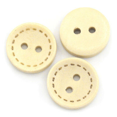 "200PCs Wood Sewing Buttons Scrapbooking 2 Holes Round Natural 13mm(4/8"")Dia."