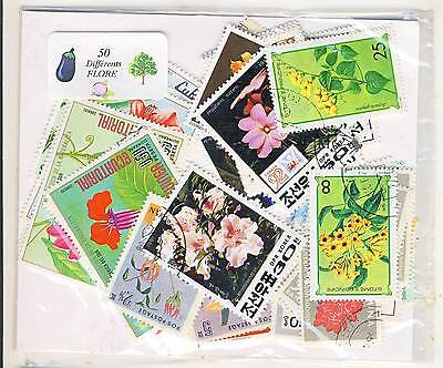 PROMOTION LOT 50 TIMBRES THEMES FLEURs FLORE FLORA TOUS DIFFERENTS