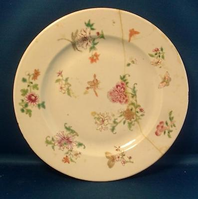 """Antique 18th c. Chinese Export Porcelain 9"""" Plate Famille Rose Glaze 1800 Flower"""